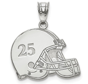 14K White Gold Personalized Football Helmet Pendant