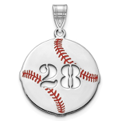 14K White Gold Personalized Baseball Pendant