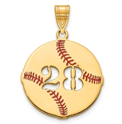 14K Yellow Gold Personalized Baseball Pendant