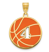 14K White Gold Personalized Basketball Pendant