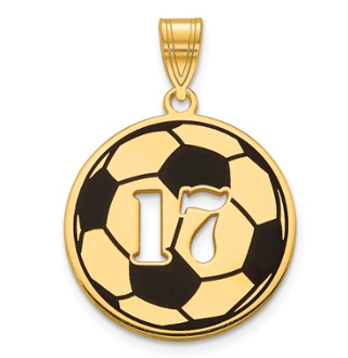14K Yellow Gold Personalized Soccer Ball Pendant