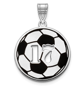 14K White Gold Personalized Soccer Ball Pendant