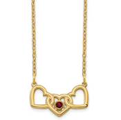 14K Yellow Gold Personalized Triple Heart 1 Birthstone Necklace