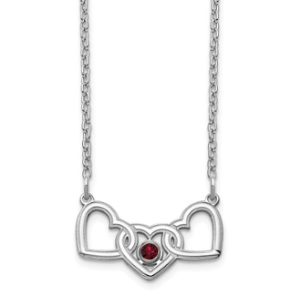 Sterling Silver Personalized Triple Heart 1 Birthstone Necklace
