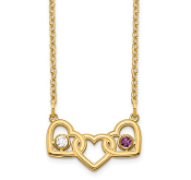 14K Yellow Gold Personalized Triple Heart 2 Birthstone Necklace