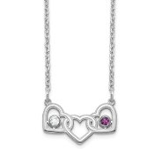 Sterling Silver Personalized Triple Heart 2 Birthstone Necklace