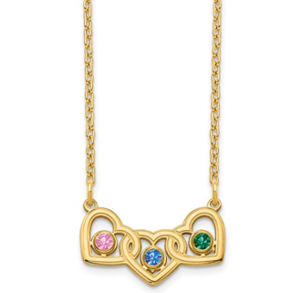 14K Yellow Gold Personalized Triple Heart 3 Birthstone Necklace