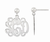 14K White Gold Personalized Monogram Post Dangle Earrings