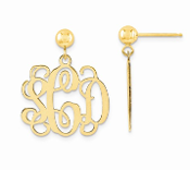 14K Yellow Gold Personalized Monogram Post Dangle Earrings