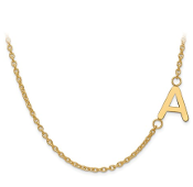14K Yellow Gold Personalized Offset Letter Initial Necklace
