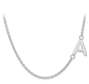 14K White Gold Personalized Offset Letter Initial Necklace