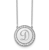 14K White Gold Personalized Circle Initial Diamond Necklace