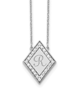 14K White Gold Personalized Diamond Initial Diamond Necklace
