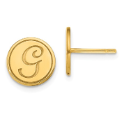 14K Yellow Gold Personalized Letter Initial Button Earrings