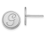 14K White Gold Personalized Letter Initial Button Earrings