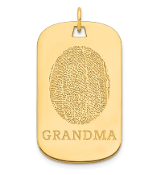14K Yellow Gold Personalized Fingerprint Dog Tag Pendant
