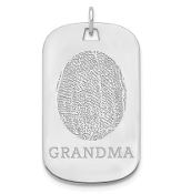 14K White Gold Personalized Fingerprint Dog Tag Pendant