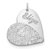 14K White Gold Personalized Name & Fingerprint Heart Pendant