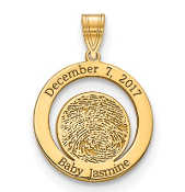 14K Yellow Gold Personalized Baby Fingerprint Birth Date Pendant