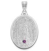 14K White Gold Personalized Fingerprint Birthstone Pendant
