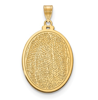14K Yellow Gold Personalized Fingerprint Oval Pendant