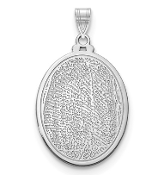 14K White Gold Personalized Fingerprint Oval Pendant