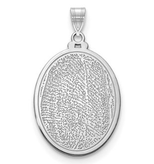Sterling Silver Personalized Fingerprint Oval Pendant