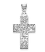 14K White Gold Personalized Fingerprint Cross Pendant