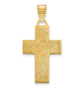 14K Yellow Gold Personalized Fingerprint Cross Pendant