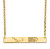 14K Yellow Gold Personalized Signature Fingerprint Necklace