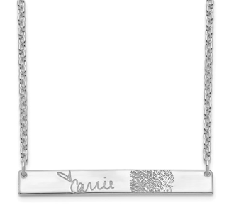 14K White Gold Personalized Signature Fingerprint Necklace