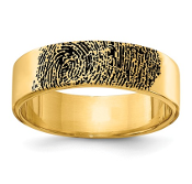 14K Yellow Gold Personalized Fingerprint Band