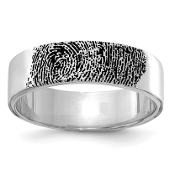 14K White Gold Personalized Fingerprint Band