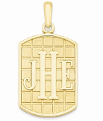 14K Yellow Gold Personalized Antiqued Monogram Pendant