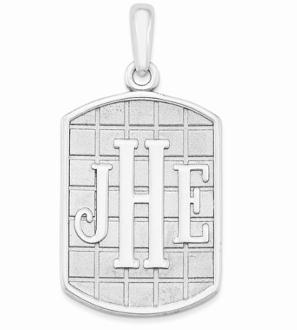 14K White Gold Personalized Antiqued Monogram Pendant