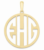 14K Yellow Gold Personalized Cutout Monogram Pendant