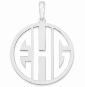 14K White Gold Personalized Cutout Monogram Pendant