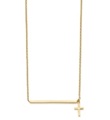 14K Yellow Gold Bar Necklace with Cross Pendant