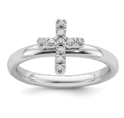 Sterling Silver Stackable Diamond Cross Ring