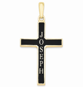 14K Yellow Gold Personalized Antiqued Name Cross Pendant