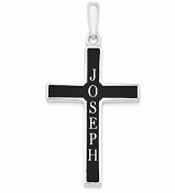14K White Gold Personalized Antiqued Name Cross Pendant