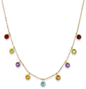 14K Yellow Gold Multicolor Gemstone Necklace