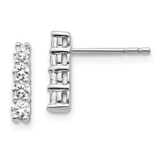 14K White Gold 4 Diamond Earrings