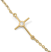 14K Yellow Gold Cubic Zirconia Cross Anklet