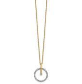 14K Two Tone Gold Diamond Circle Pendant Necklace