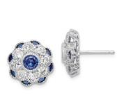 Sterling Silver CZ & Blue Spinel Flower Earrings