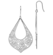 Sterling Silver Flower CZ Teardrop Dangle Earrings