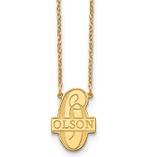 14K Yellow Gold Script Letter Family Name Pendant Necklace