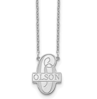 14K White Gold Script Letter Family Name Pendant Necklace