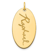 14K Yellow Gold Personalized Oval Script Name Pendant